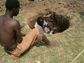 Digging a well at the new school site